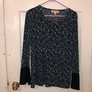 Printed Bell Sleeve MK Blouse